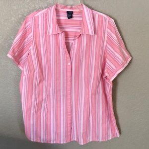 NWOT Basic Editions 2X Pink Short Sleeve Blouse